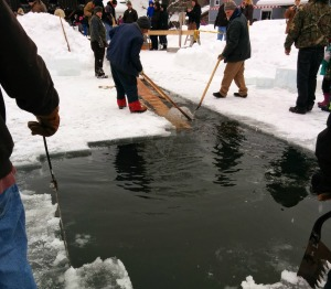 Volunteers work to get the freshly carved ice out of the frozen pond. (c) 2015 Waldy Diez